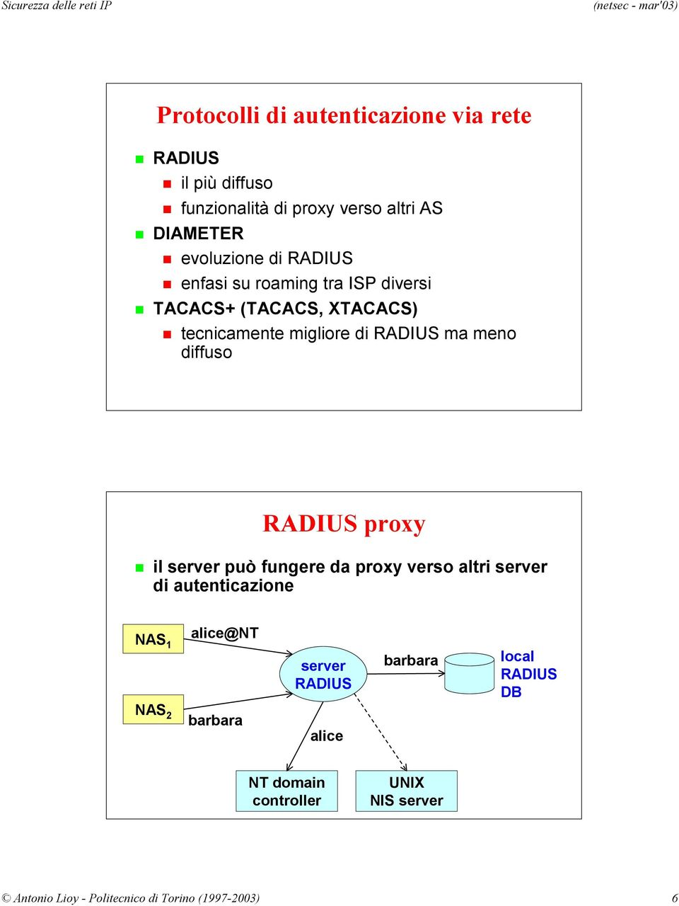 RADIUS proxy il server può fungere da proxy verso altri server di autenticazione NAS 1 alice@nt server RADIUS barbara