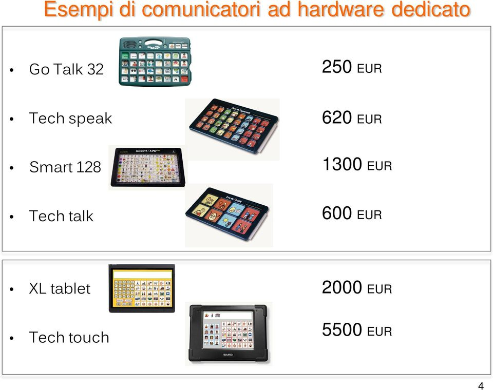 620 EUR Smart 128 1300 EUR Techtalk 600