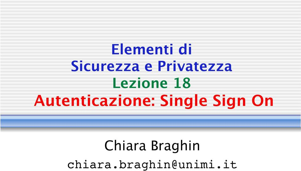 Autenticazione: Single Sign