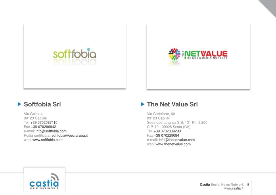 it web: www.softfobia.com The Net Value Srl Via Carloforte, 60 09123 Cagliari Sede operativa ex S.S. 131 Km 8,200 C.