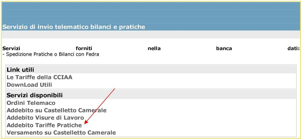 DownLoad Utili Servizi disponibili Ordini Telemaco Addebito su Castelletto