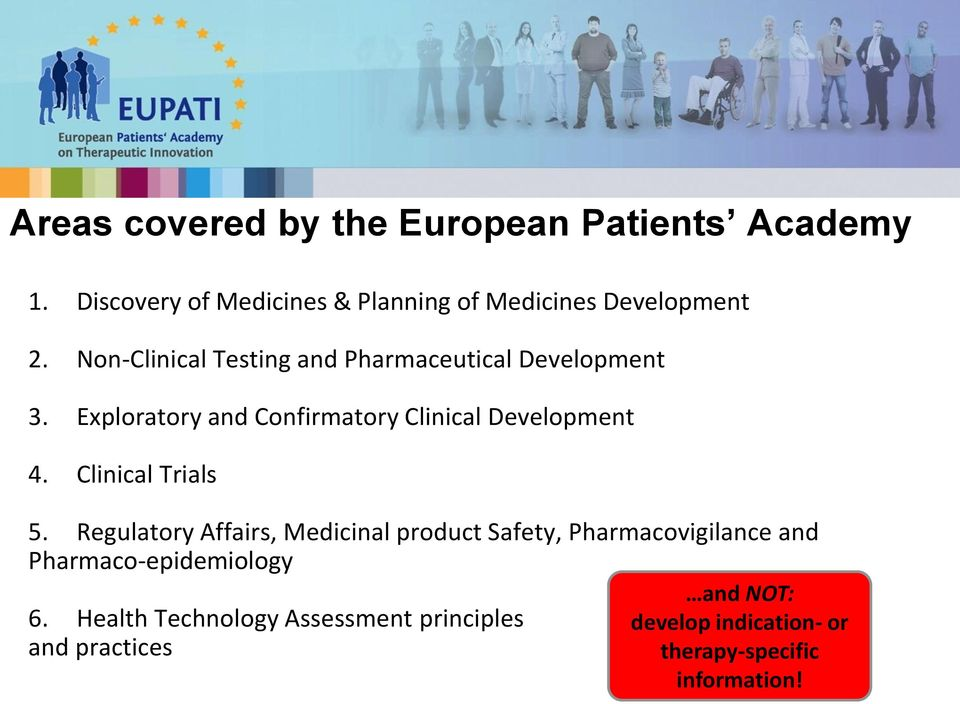 Clinical Trials 5. Regulatory Affairs, Medicinal product Safety, Pharmacovigilance and Pharmaco-epidemiology 6.