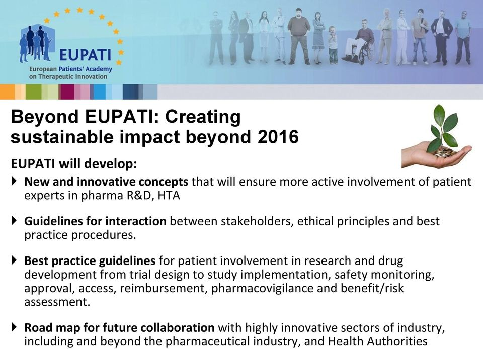 Best practice guidelines for patient involvement in research and drug development from trial design to study implementation, safety monitoring, approval, access,