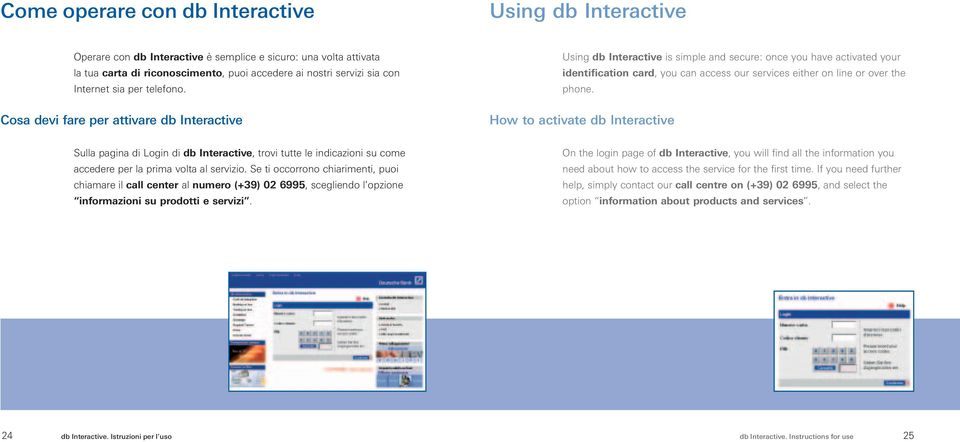 Cosa devi fare per attivare db Interactive Using db Interactive is simple and secure: once you have activated your identification card, you can access our services either on line or over the phone.