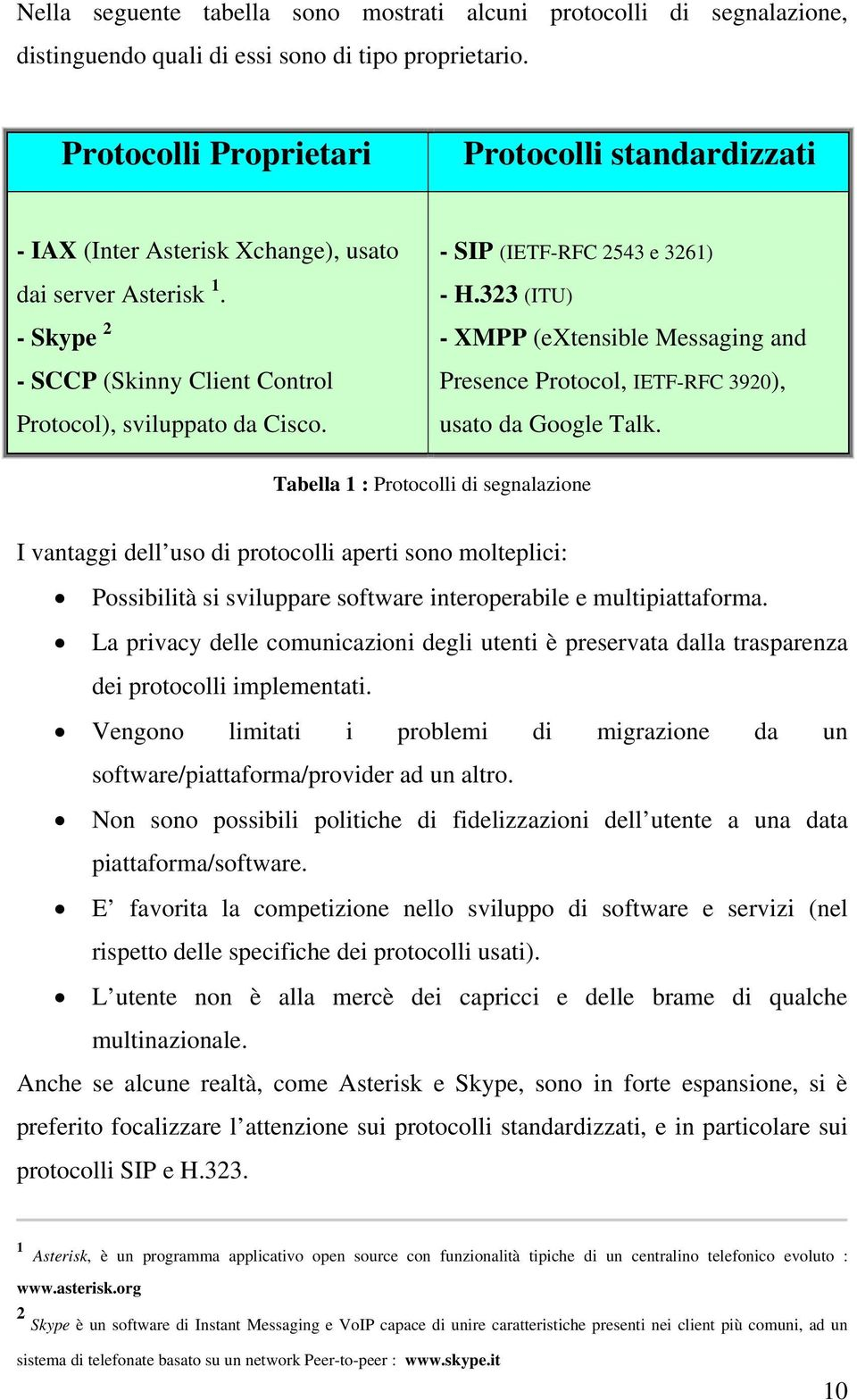 - SIP (IETF-RFC 2543 e 3261) - H.323 (ITU) - XMPP (extensible Messaging and Presence Protocol, IETF-RFC 3920), usato da Google Talk.