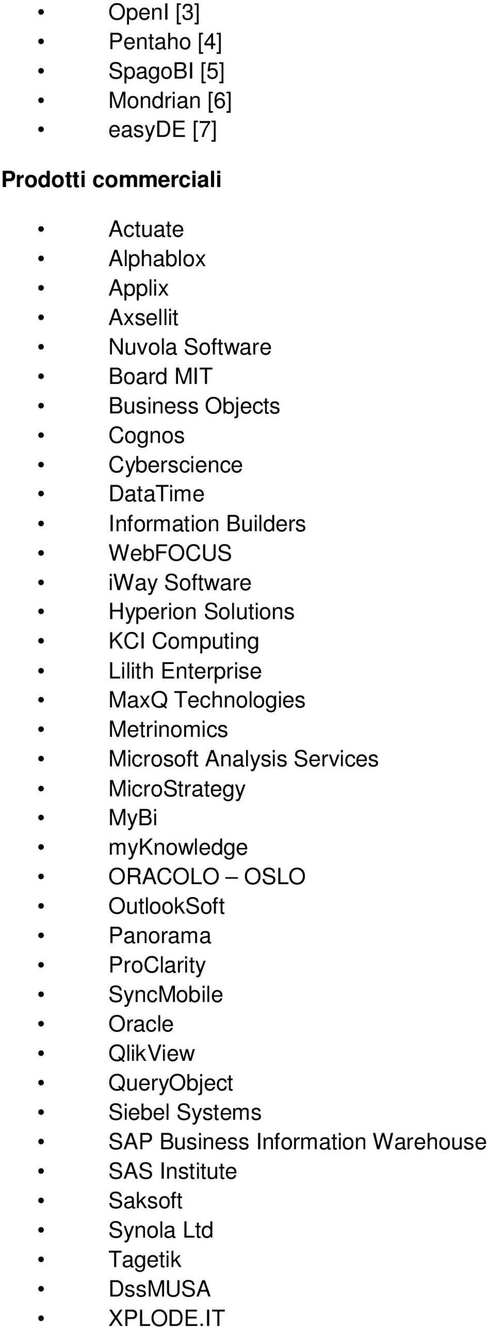 MaxQ Technologies Metrinomics Microsoft Analysis Services MicroStrategy MyBi myknowledge ORACOLO OSLO OutlookSoft Panorama ProClarity