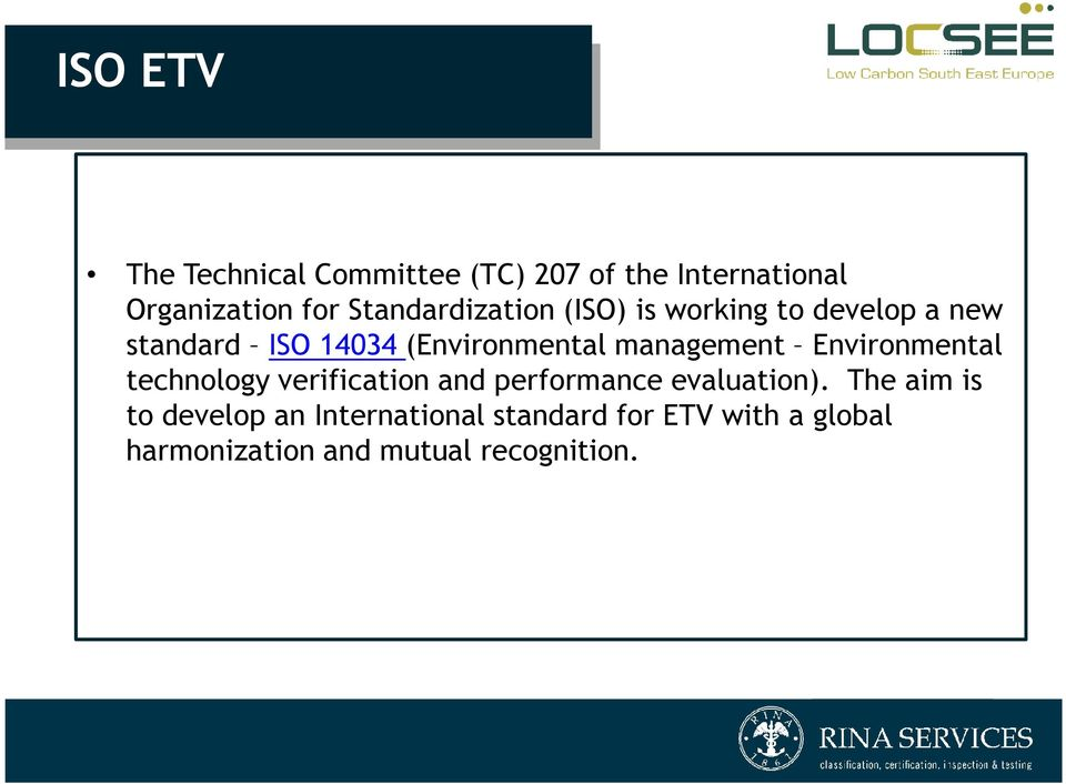 management Environmental technology verification and performance evaluation).