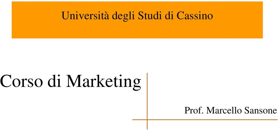 Corso di Marketing