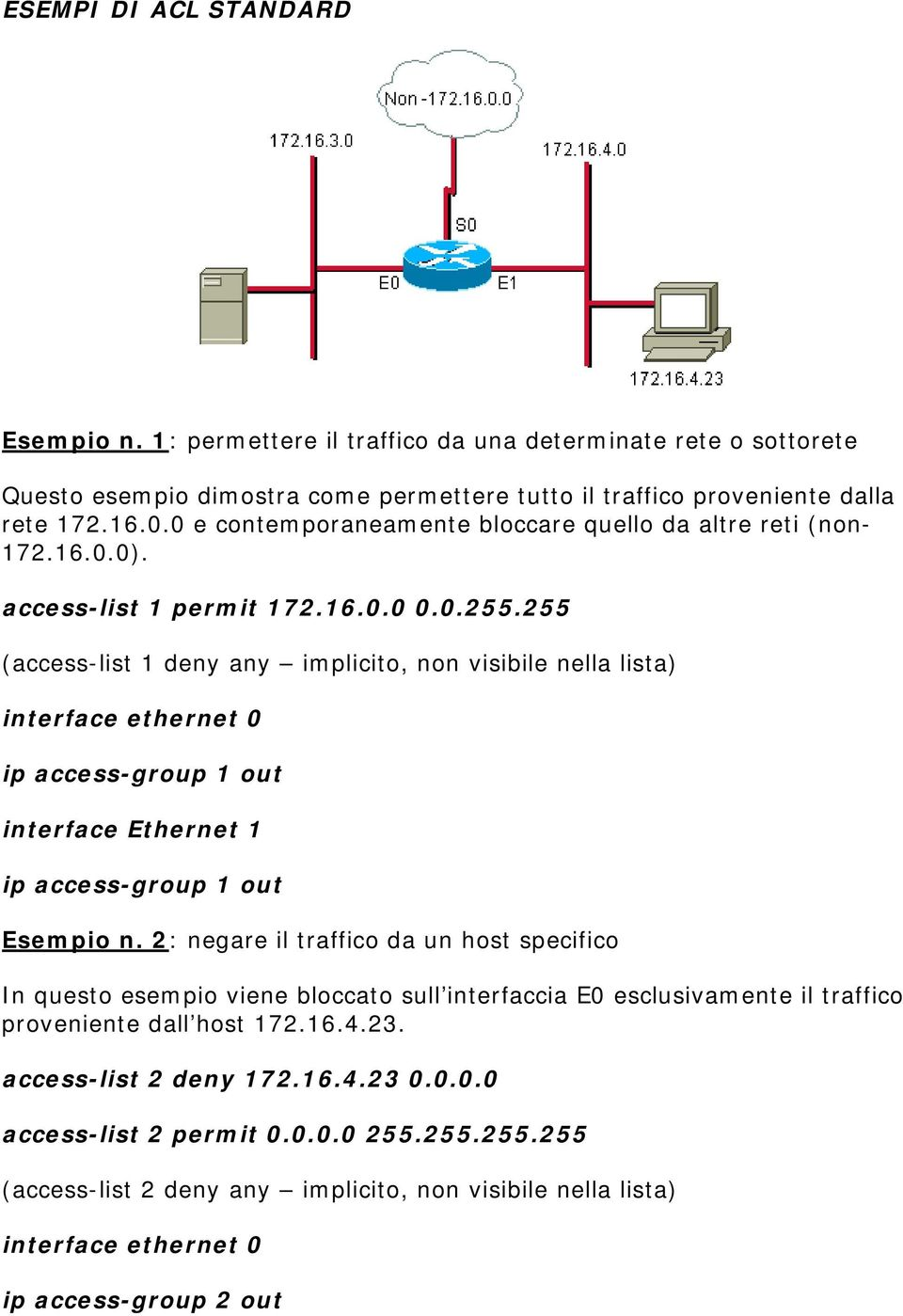 255 (access-list 1 deny any implicito, non visibile nella lista) ip access-group 1 out interface Ethernet 1 ip access-group 1 out Esempio n.
