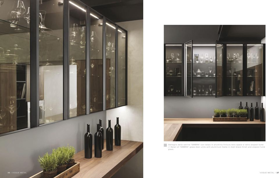OMBRA glass door units with aluminium frame in matt black