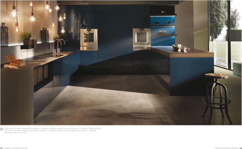 lacquered Ink Blue - integrated handle thermotreated oak veneer - worktop