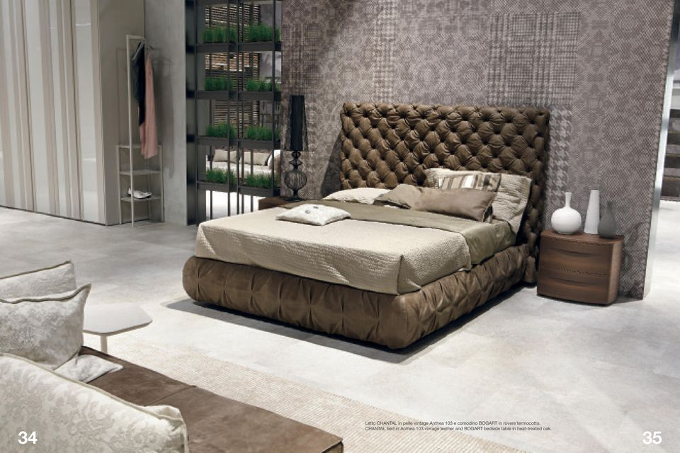 CHANTAL bed in Anthea 103 vintage leather