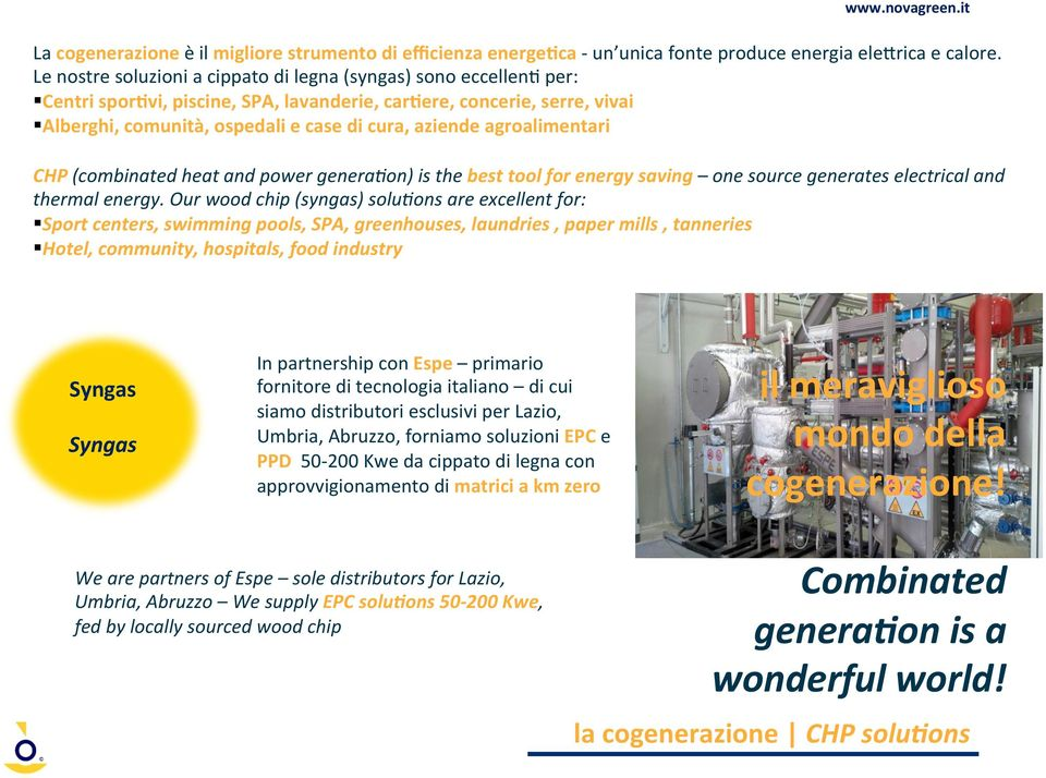 agroalimentari CHP (combinated heat and power generabon) is the best tool for energy saving one source generates electrical and thermal energy.