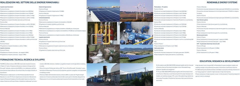 di impianto di trigenerazione (1,8 MWp); Construction and project development of a PV plant on land (600 kwp); Construction and project development of a mini-hydro-power plant (170 kwh) for a