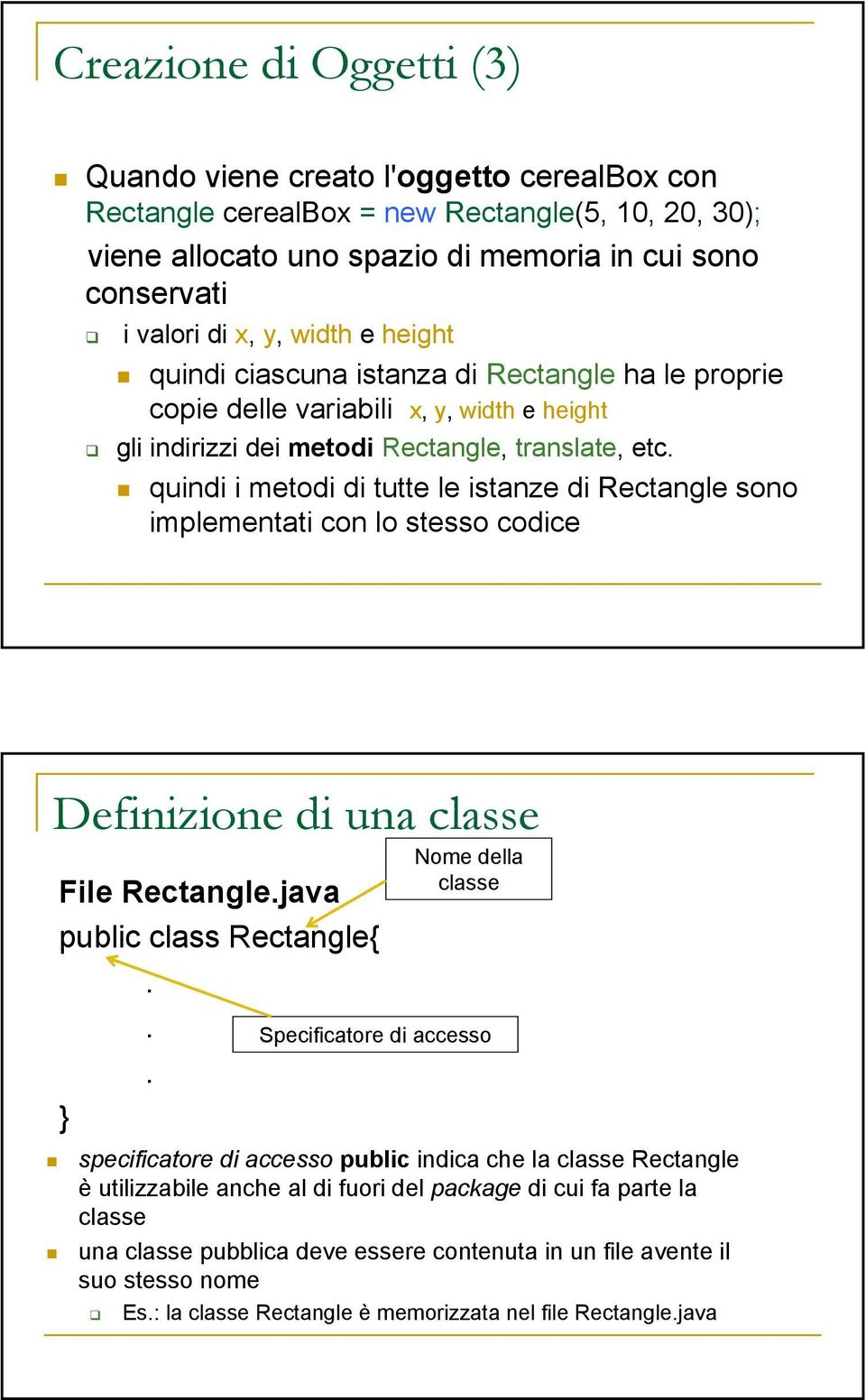 quindi i metodi di tutte le istanze di Rectangle sono implementati con lo stesso codice Definizione di una classe File Rectangle.java public class Rectangle{.