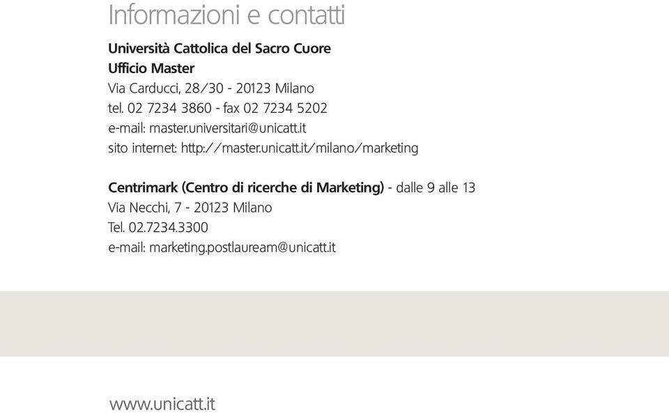 it sito internet: http://master.unicatt.