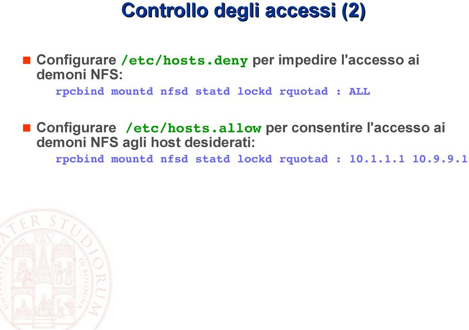 lockd rquotad : ALL Configurare /etc/hosts.