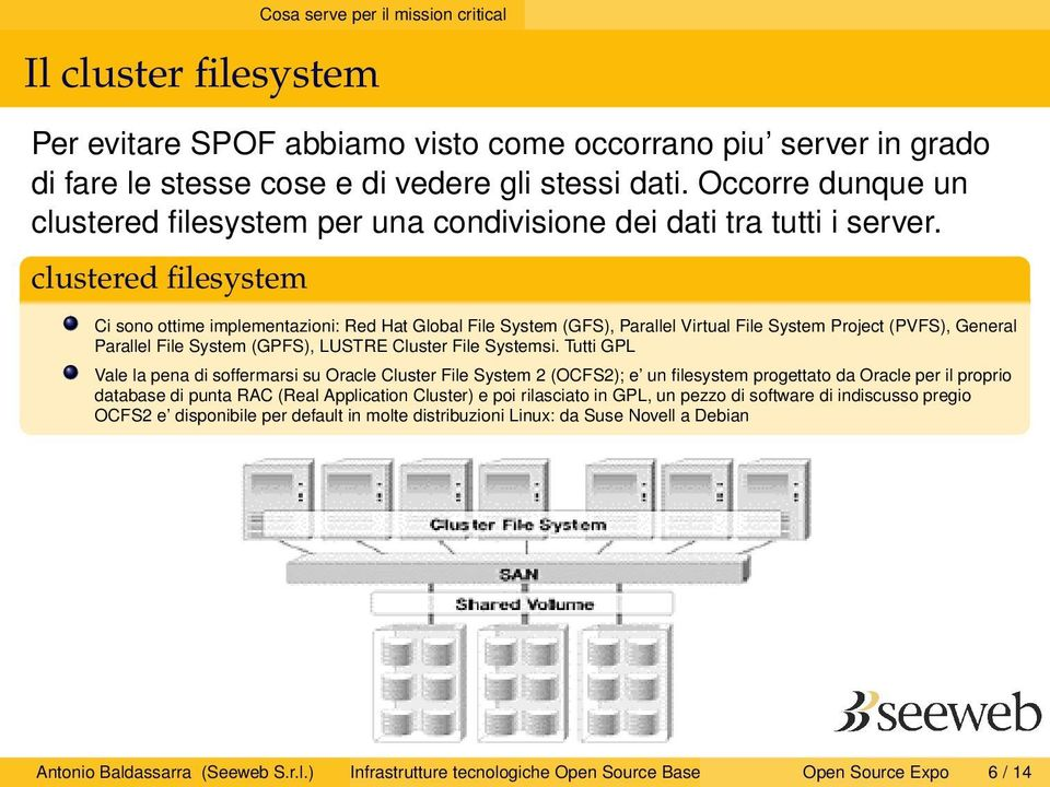 clustered filesystem Ci sono ottime implementazioni: Red Hat Global File System (GFS), Parallel Virtual File System Project (PVFS), General Parallel File System (GPFS), LUSTRE Cluster File Systemsi.