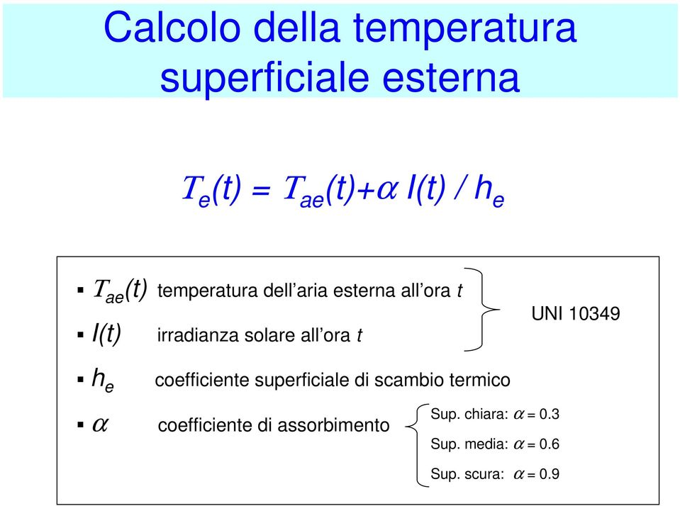 ora t UNI 10349 h e coefficiente superficiale di scambio termico α