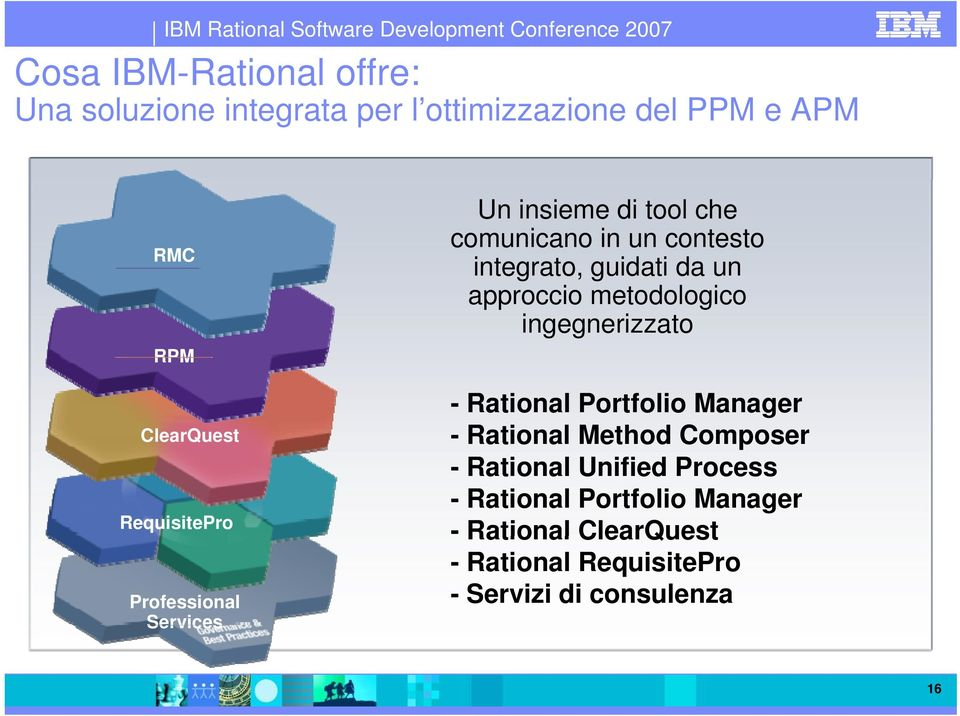 approccio metodologico ingegnerizzato - Rational Portfolio Manager - Rational Method Composer - Rational