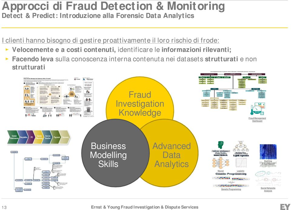 datasets strutturati e non strutturati Fraud Investigation Knowledge Fraud Fraud Management Dashboard Business Modelling Skills Advanced Data Analytics