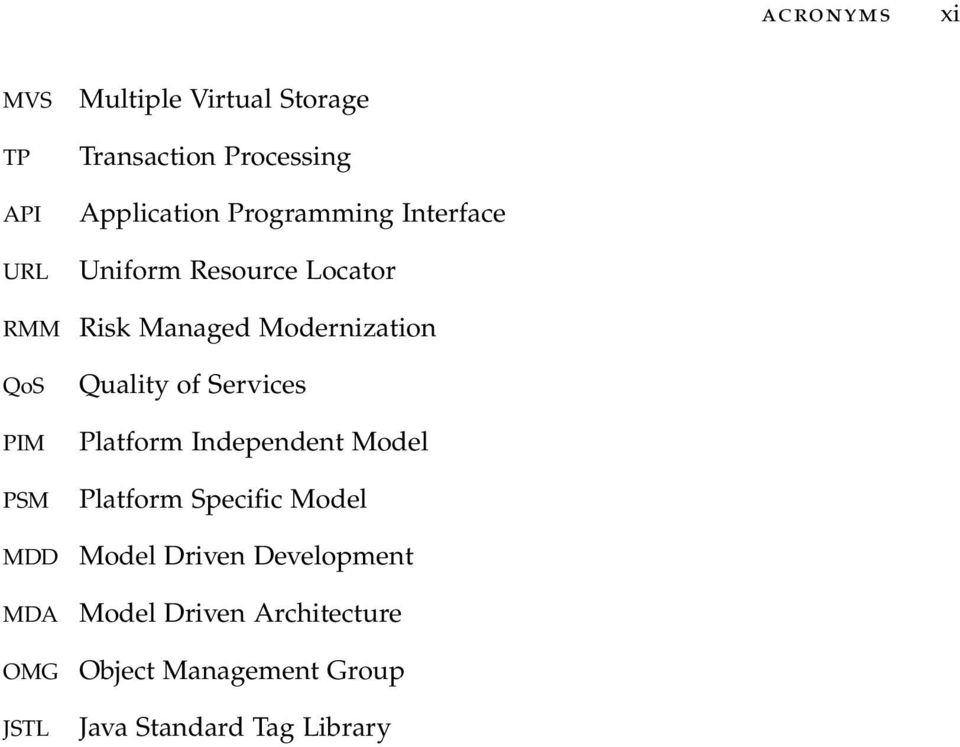 Managed Modernization Quality of Services Platform Independent Model Platform Specific