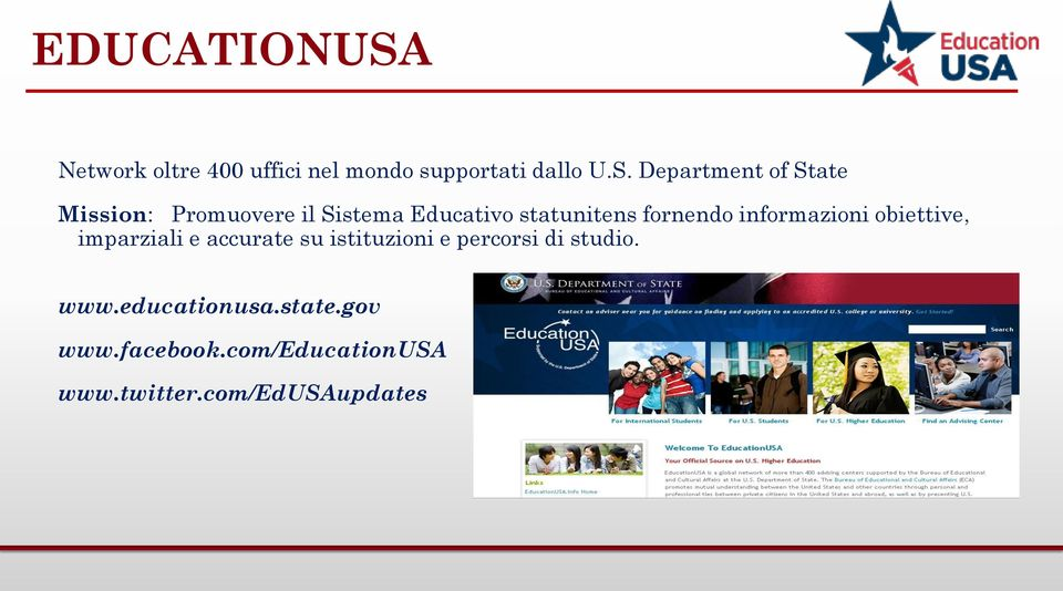 Department of State Mission: Promuovere il Sistema Educativo statunitens