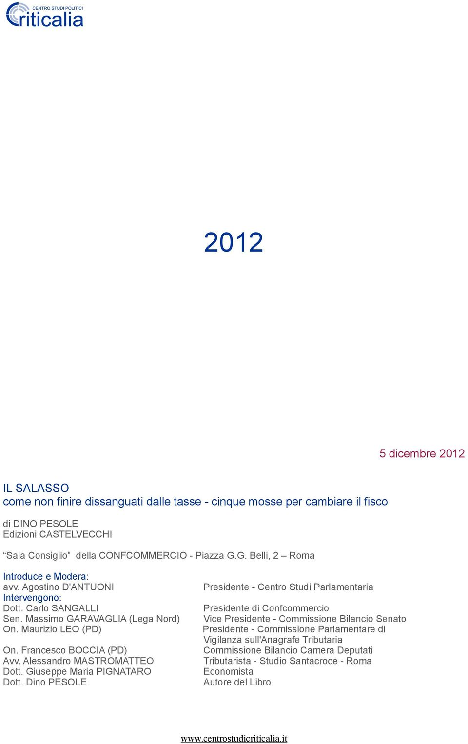 Pdf for Commissione bilancio camera