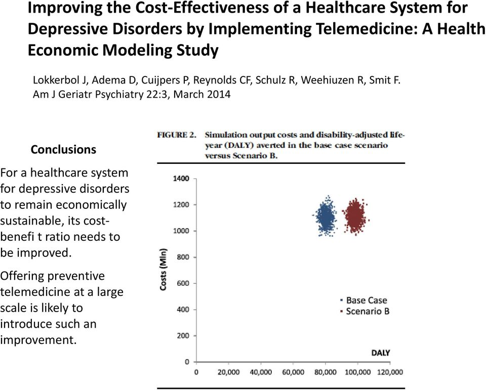 Am J Geriatr Psychiatry 22:3, March 2014 Conclusions For a healthcare system for depressive disorders to remain economically