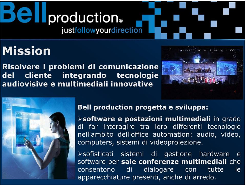 nell'ambito dell'office automation: audio, video, computers, sistemi di videoproiezione.