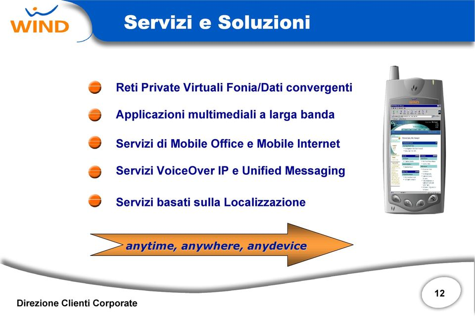 Mobile Office e Mobile Internet Servizi VoiceOver IP e Unified