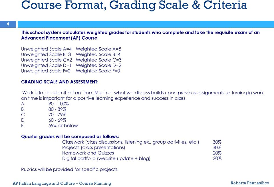 GRADING SCALE AND ASSESSMENT: Work is to be submitted on time.