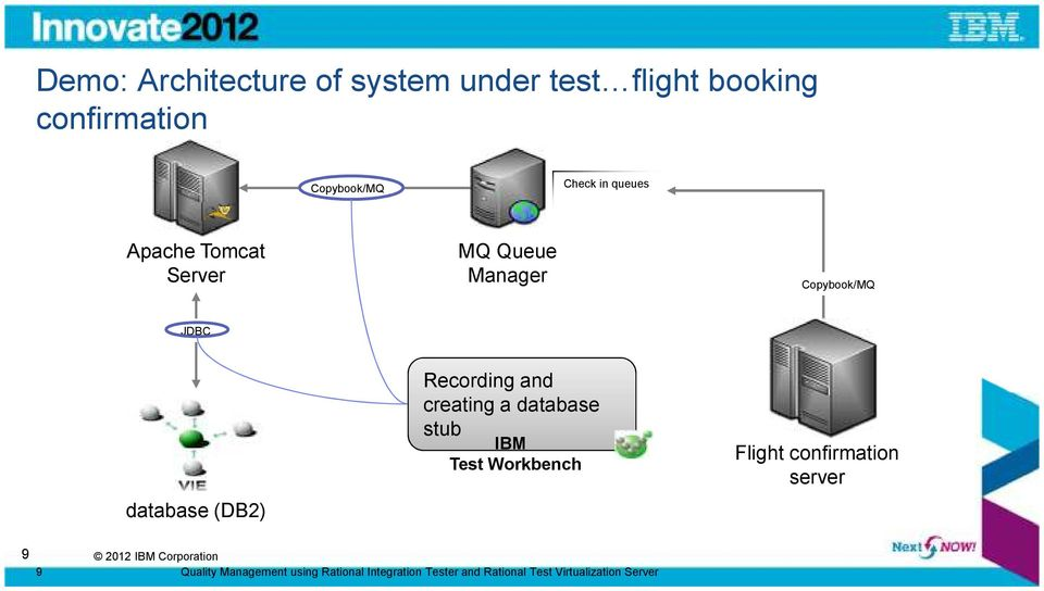Recording and creating a database stub IBM Test Workbench Flight confirmation server 9 9