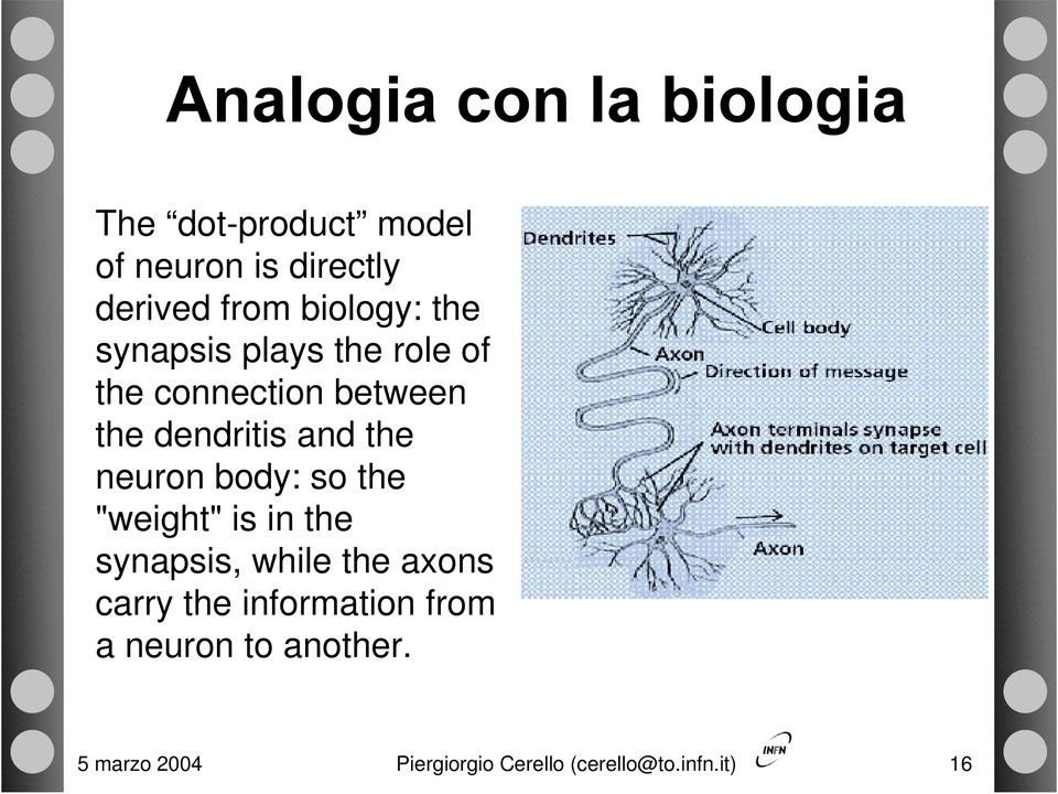 "the neuron body: so the ""weight"" is in the synapsis, while the axons carry the"