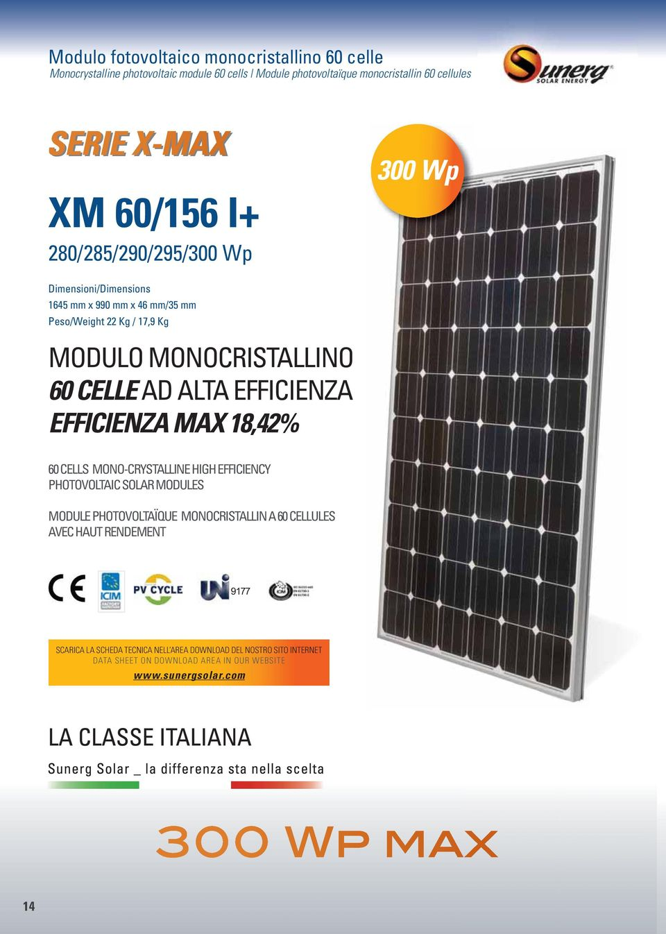 ALTA EFFICIENZA EFFICIENZA MAX 18,42% 60 CELLS MONO-CRYSTALLINE HIGH EFFICIENCY PHOTOVOLTAIC SOLAR MODULES MODULE PHOTOVOLTAÏQUE MONOCRISTALLIN A 60