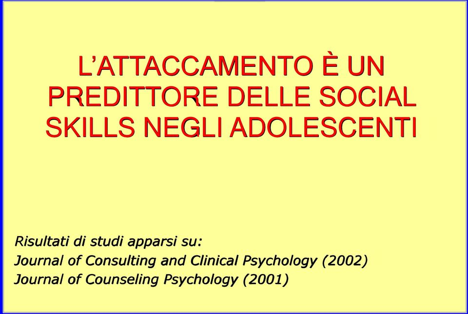 apparsi su: Journal of Consulting and Clinical