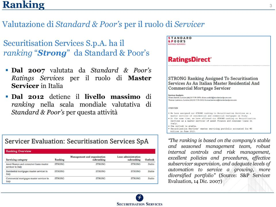 massimo di ranking nella scala mondiale valutativa di Standard & Poor s per questa attività The ranking is based on the company's stable and seasoned management team,