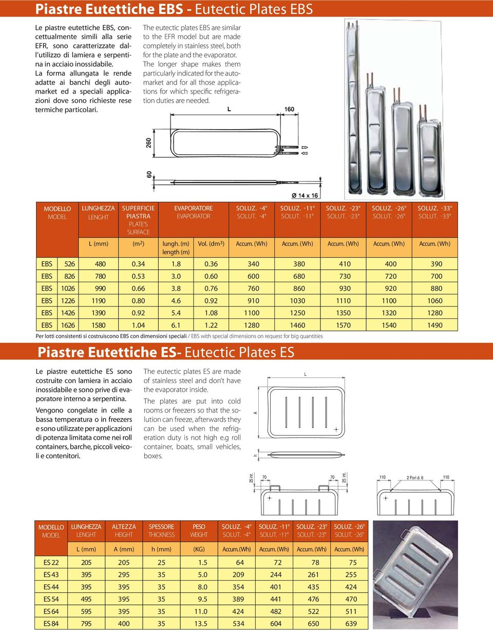The eutectic plates EBS are similar to the EFR model but are made completely in stainless steel, both for the plate and the evaporator.