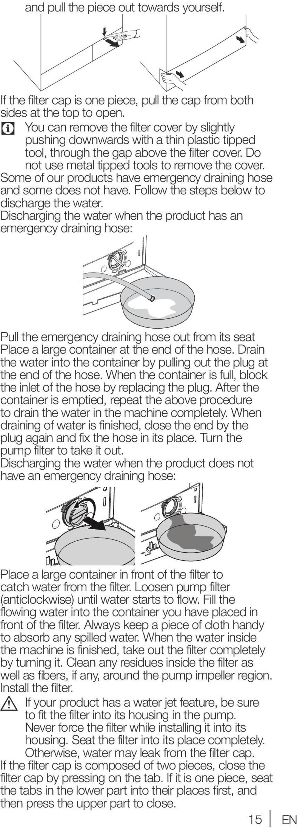 Some of our products have emergency draining hose and some does not have. Follow the steps below to discharge the water.
