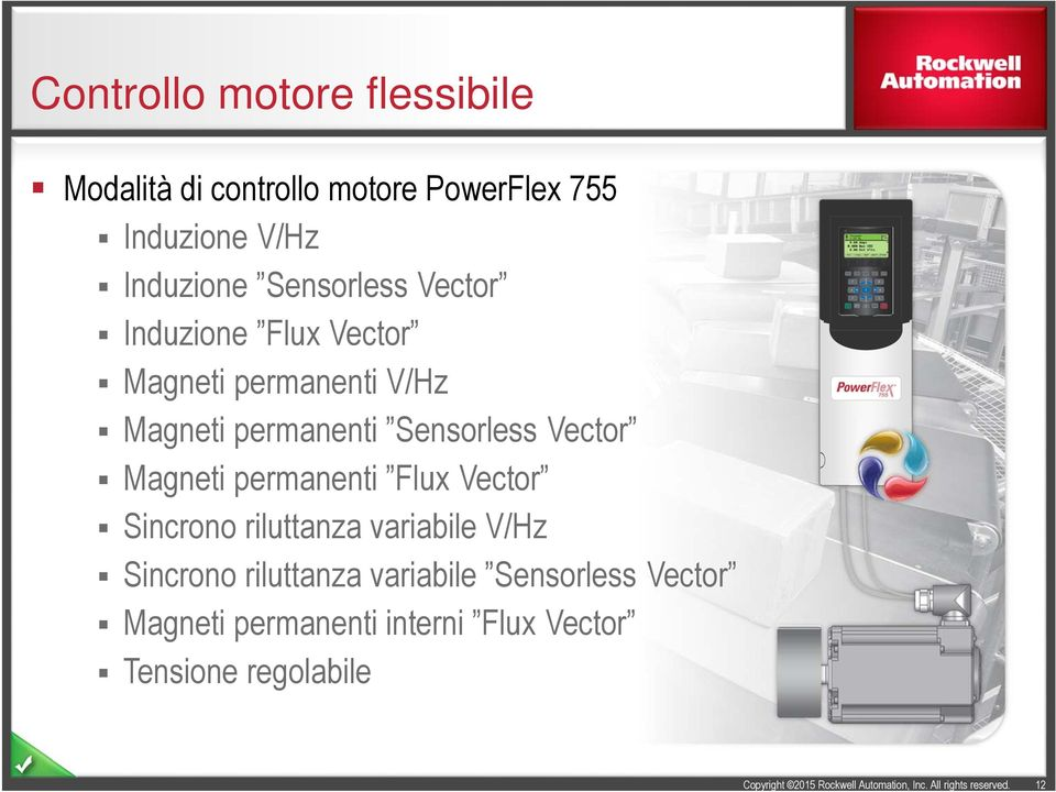Sensorless Vector Magneti permanenti Flux Vector Sincrono riluttanza variabile V/Hz Sincrono