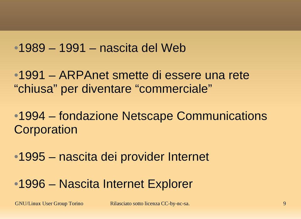 Communications Corporation 1995 nascita dei provider Internet 1996