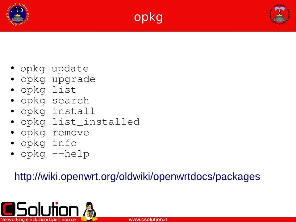 list_installed opkg remove opkg info opkg