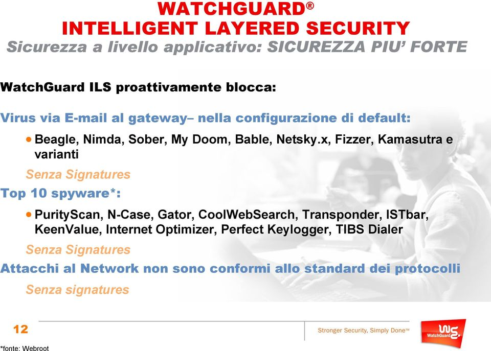 x, Fizzer, Kamasutra e varianti Senza Signatures Top 10 spyware*: PurityScan, N-Case, Gator, CoolWebSearch, Transponder, ISTbar,