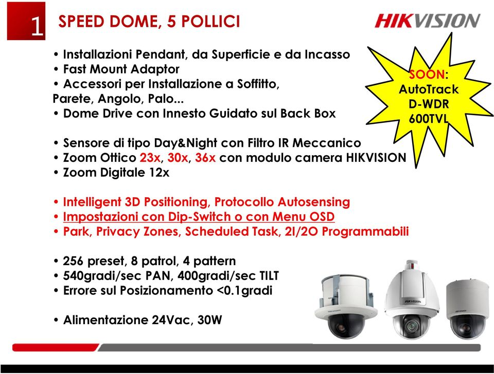 modulo camera HIKVISION Zoom Digitale 12x Intelligent 3D Positioning, Protocollo Autosensing Impostazioni con Dip-Switch o con Menu OSD Park, Privacy Zones,