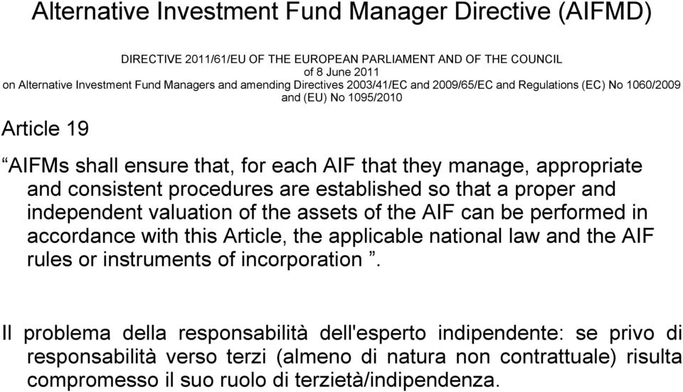 are established so that a proper and independent valuation of the assets of the AIF can be performed in accordance with this Article, the applicable national law and the AIF rules or instruments of