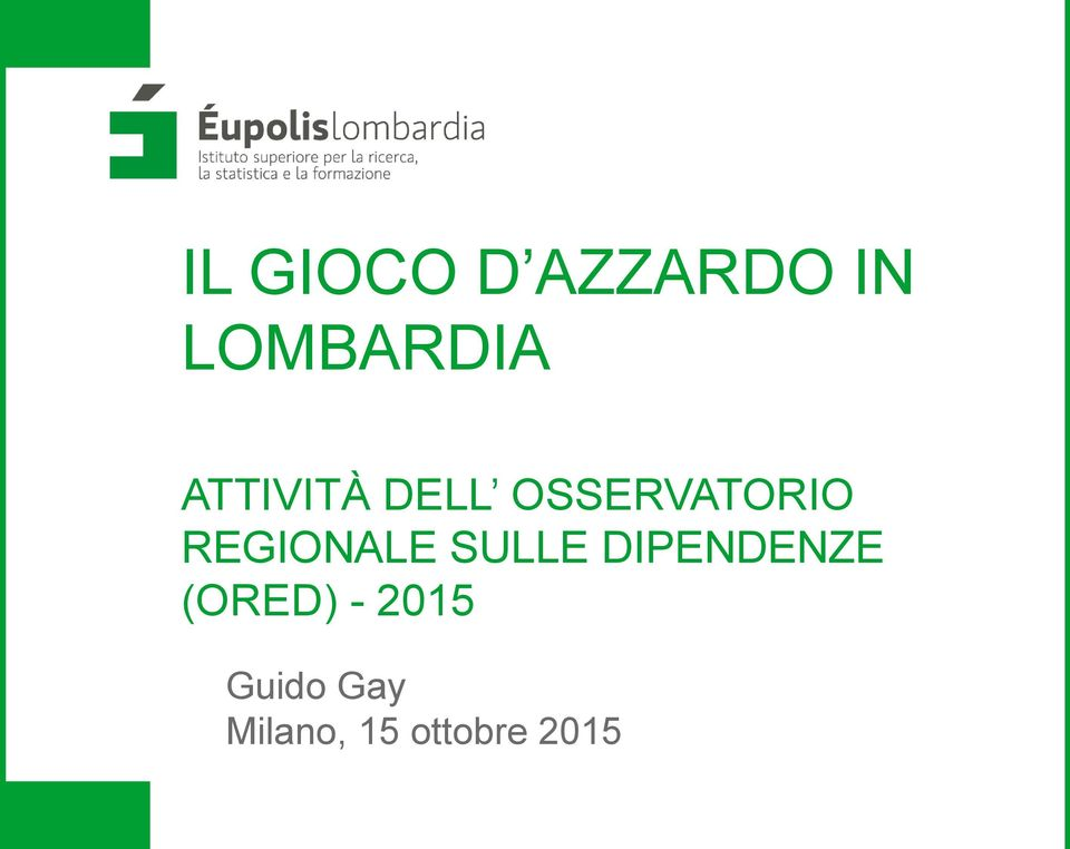 REGIONALE SULLE DIPENDENZE