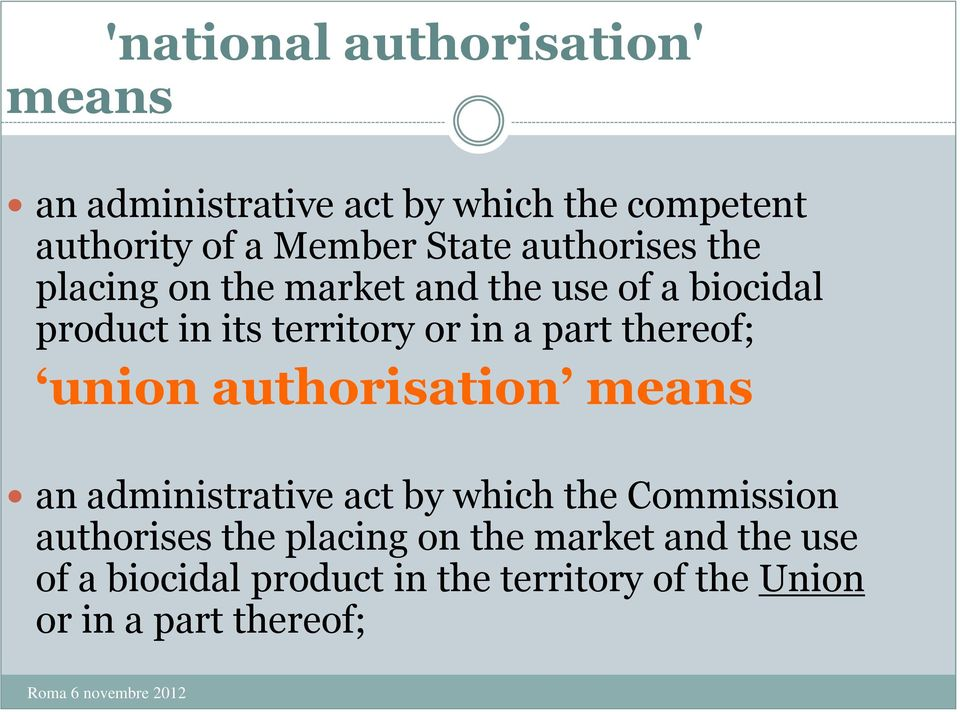 part thereof; union authorisation means an administrative act by which the Commission authorises the