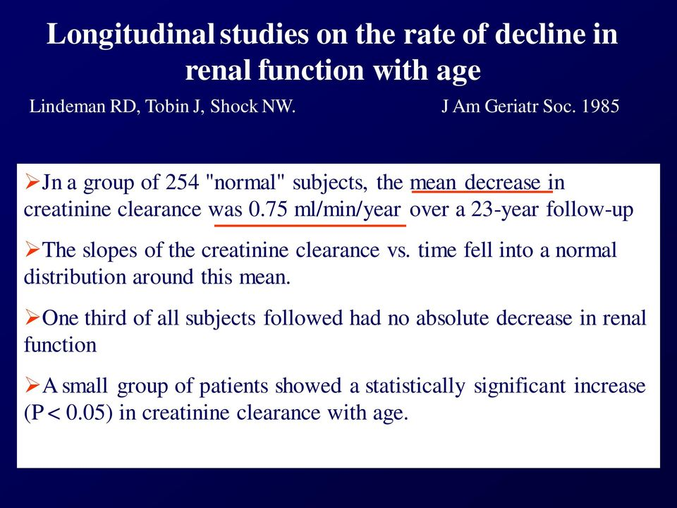 75 ml/min/year over a 23-year follow-up The slopes of the creatinine clearance vs.