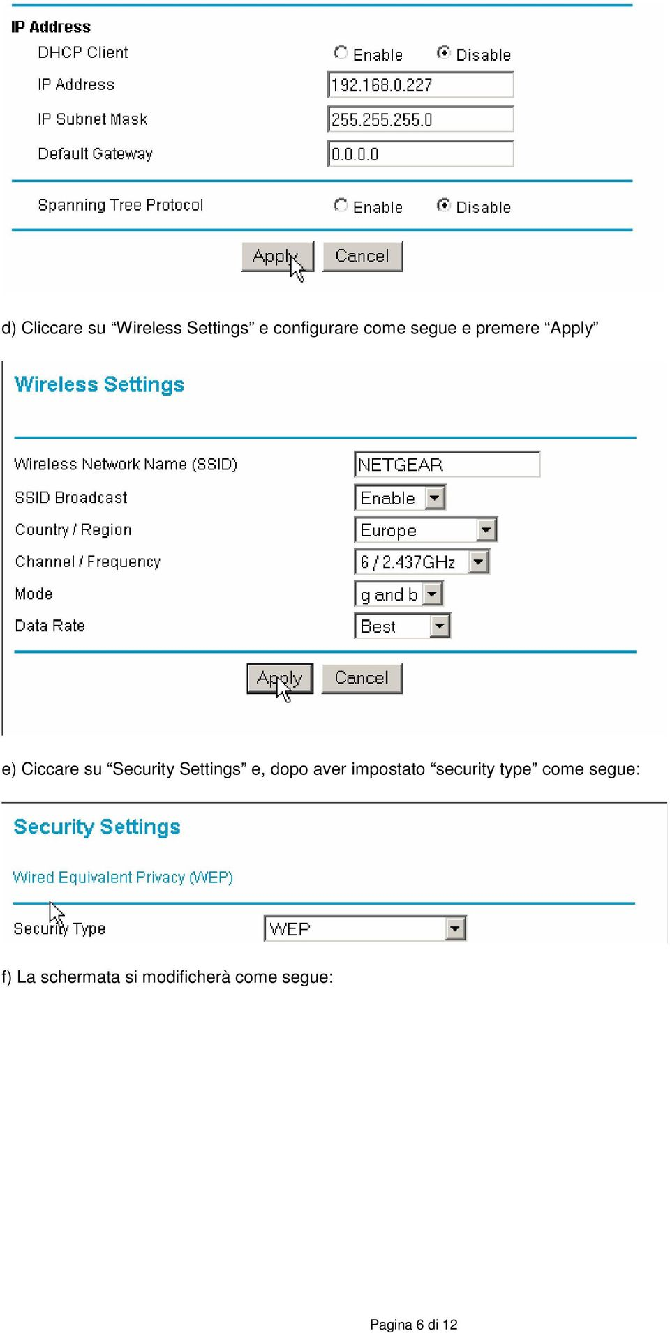 Settings e, dopo aver impostato security type come