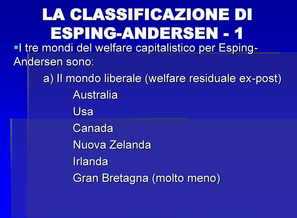 Il mondo liberale (welfare residuale ex-post) Australia